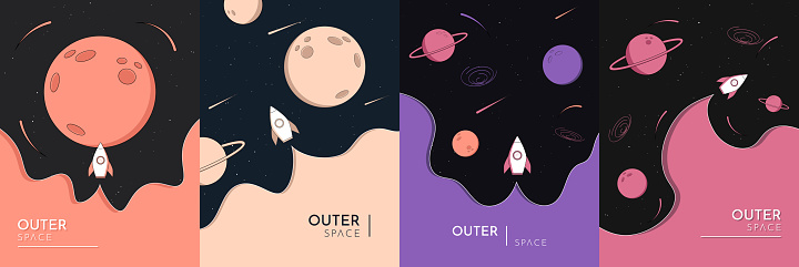 Vector illustration in abstract flat style. Minimalist color backgrounds collection. Space exploration concept. Saturn, Jupiter, Mars planets. Creative dark wallpaper. Modern design for poster, card