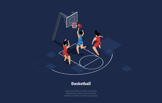 Vector Illustration In Cartoon 3D Style Of Basketball Players Team On Court. Composition On Dark Background With Writing. Three Characters In Red And Blue Uniform Playing Together Sport Game With Ball