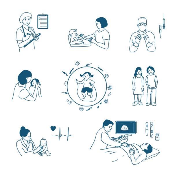 bildbanksillustrationer, clip art samt tecknat material och ikoner med vektorillustration i tecknad stil för infographics. barn s hälsa, graviditet, vård av spädbarn, moderskap. en stor uppsättning bilder av människor i en platt stil med en stroke. - kirurg