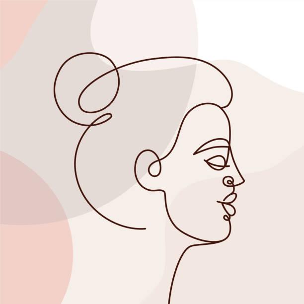 illustrazioni stock, clip art, cartoni animati e icone di tendenza di vector illustration in continuous line style - minimalistic female portrait - donna si nasconde