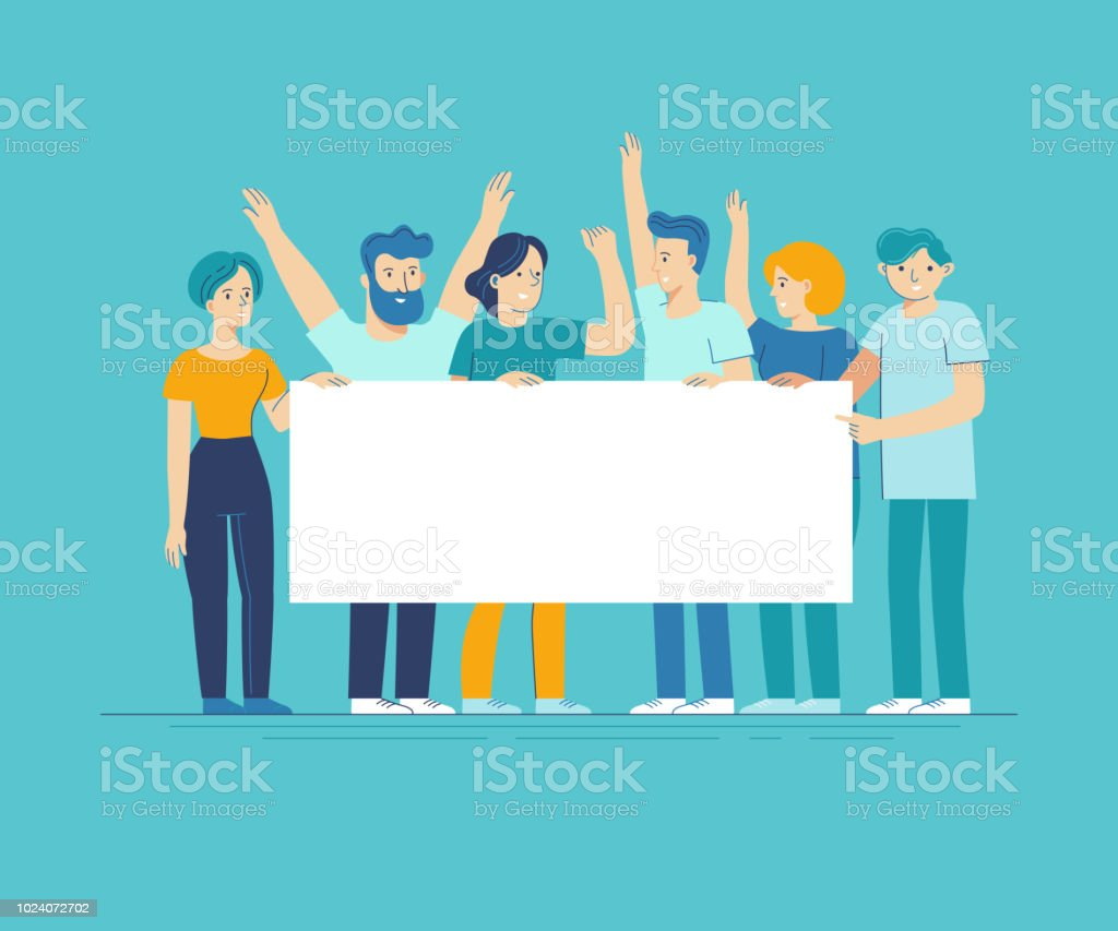 Vector illustration in flat line style - team of happy people holding white placard with copy space for text - announcement banner vector art illustration