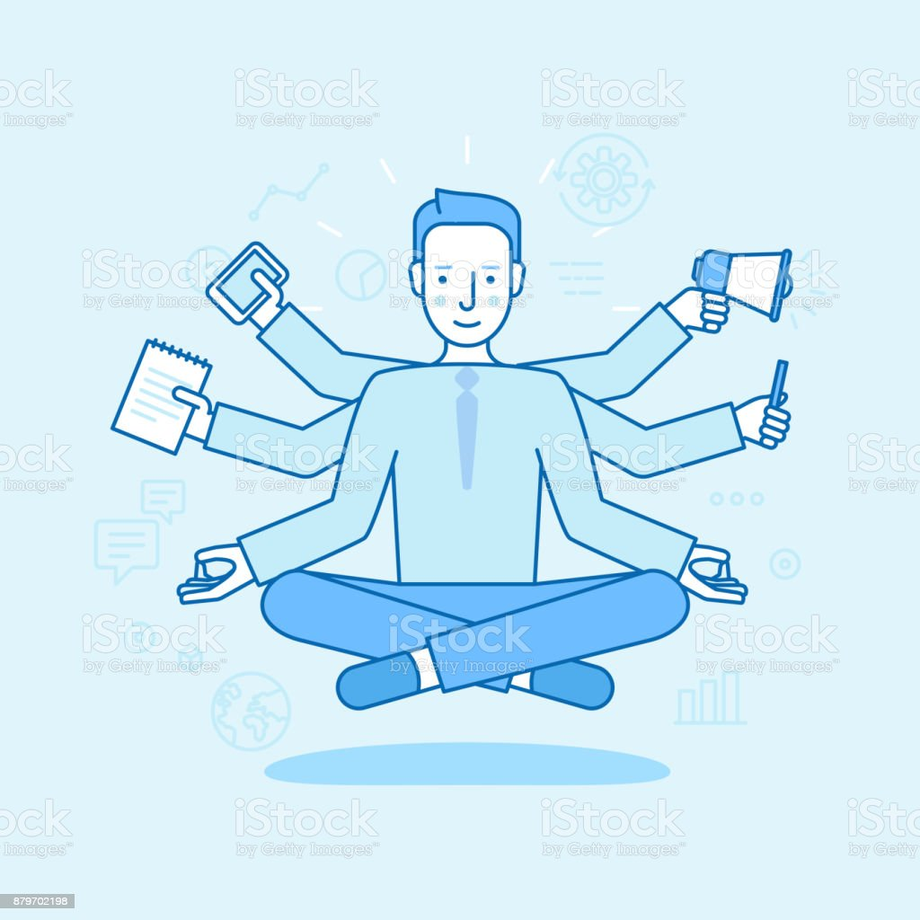 Vector illustration in flat linear style and blue color - business man meditating vector art illustration