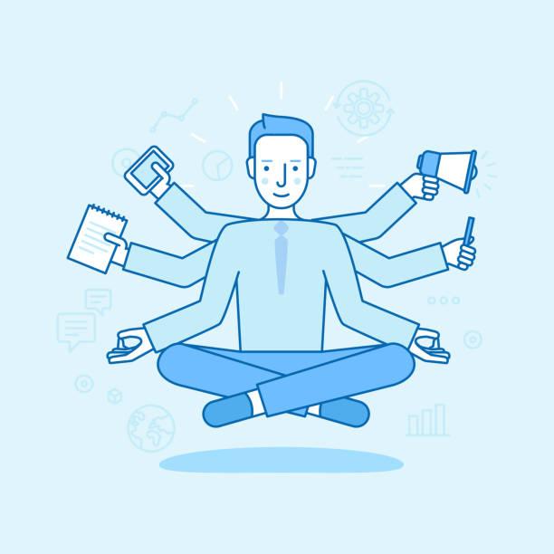 Ilustración de vector de estilo plano lineal y color azul - hombre de negocios meditar - ilustración de arte vectorial