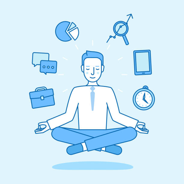 vector illustration in flat linear style and blue color - business man sitting and meditating in lotus pose - sage stock illustrations, clip art, cartoons, & icons