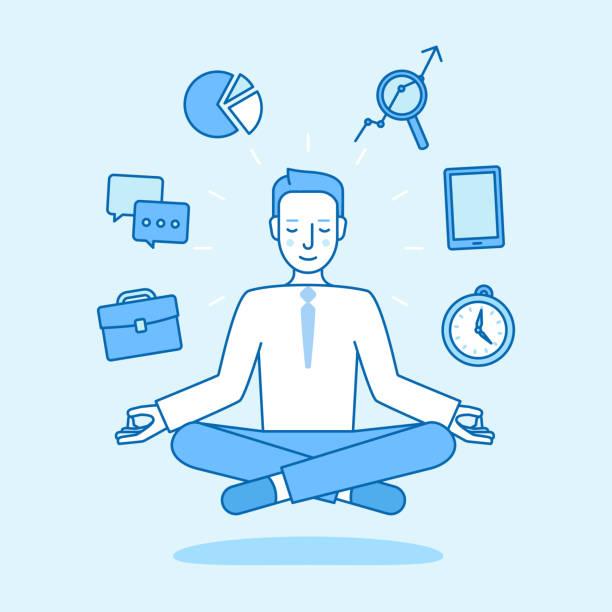 bildbanksillustrationer, clip art samt tecknat material och ikoner med vektorillustration i platt linjär stil och blå färg - affärsman sitter och mediterar i lotus pose - buddhism