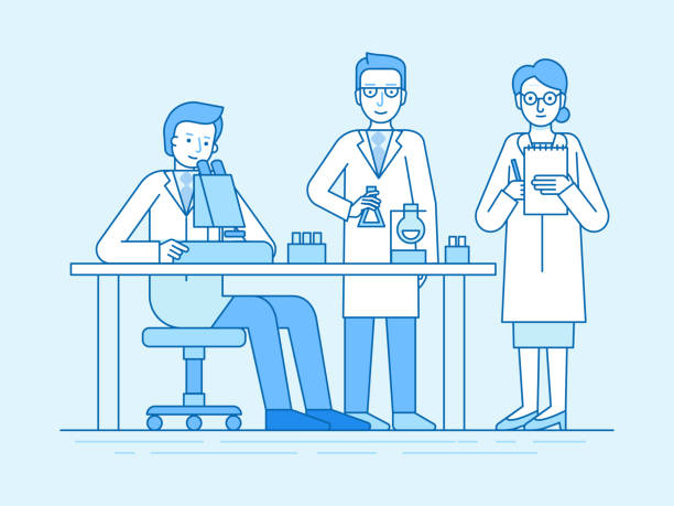 Vektor-Illustration in flachen linearen Stil und blaue Farbe - medizinische Untersuchungen und Wissenschaftsforschung – Vektorgrafik