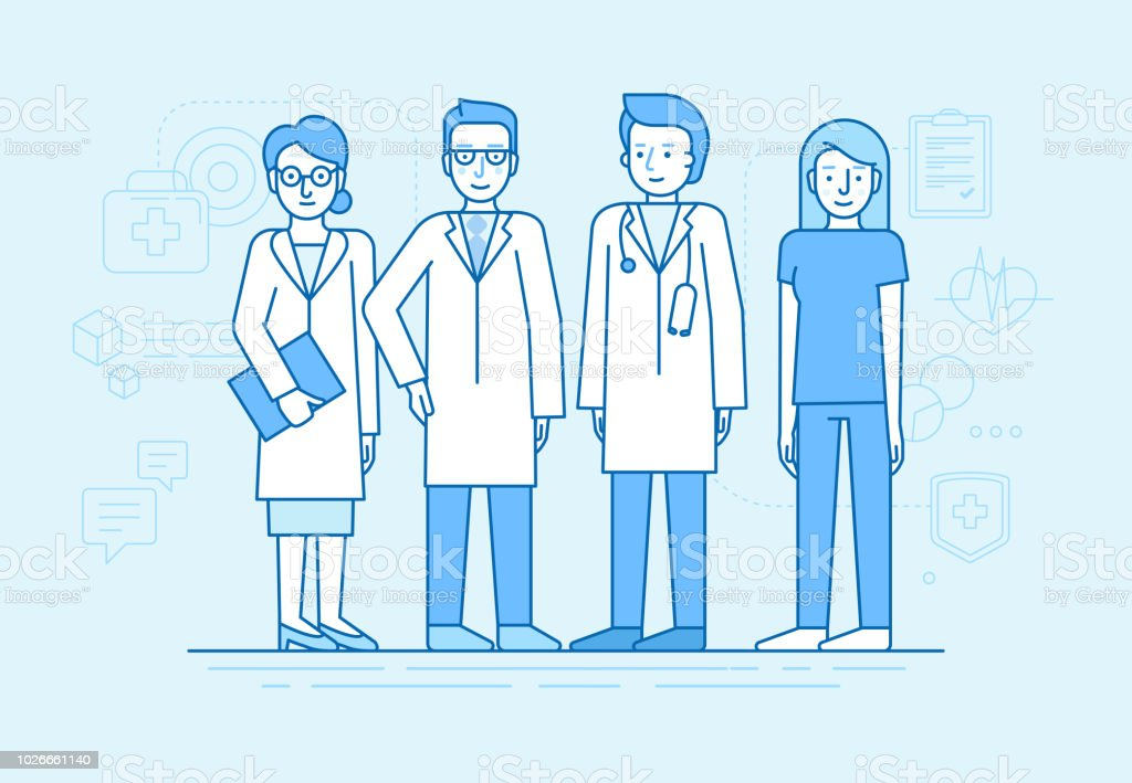 Vector illustration in flat linear style and blue color  - medical team vector art illustration