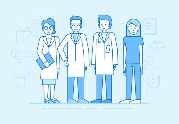 Vector illustration in flat linear style and blue color  - medical team Vector illustration in flat linear style and blue color  - medical team - group of doctors and nurses standing together - hospital staff pharmacist stock illustrations
