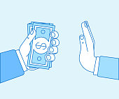 Vector illustration in flat linear style and blue color - stop corruption concept - hand giving bribe in cash