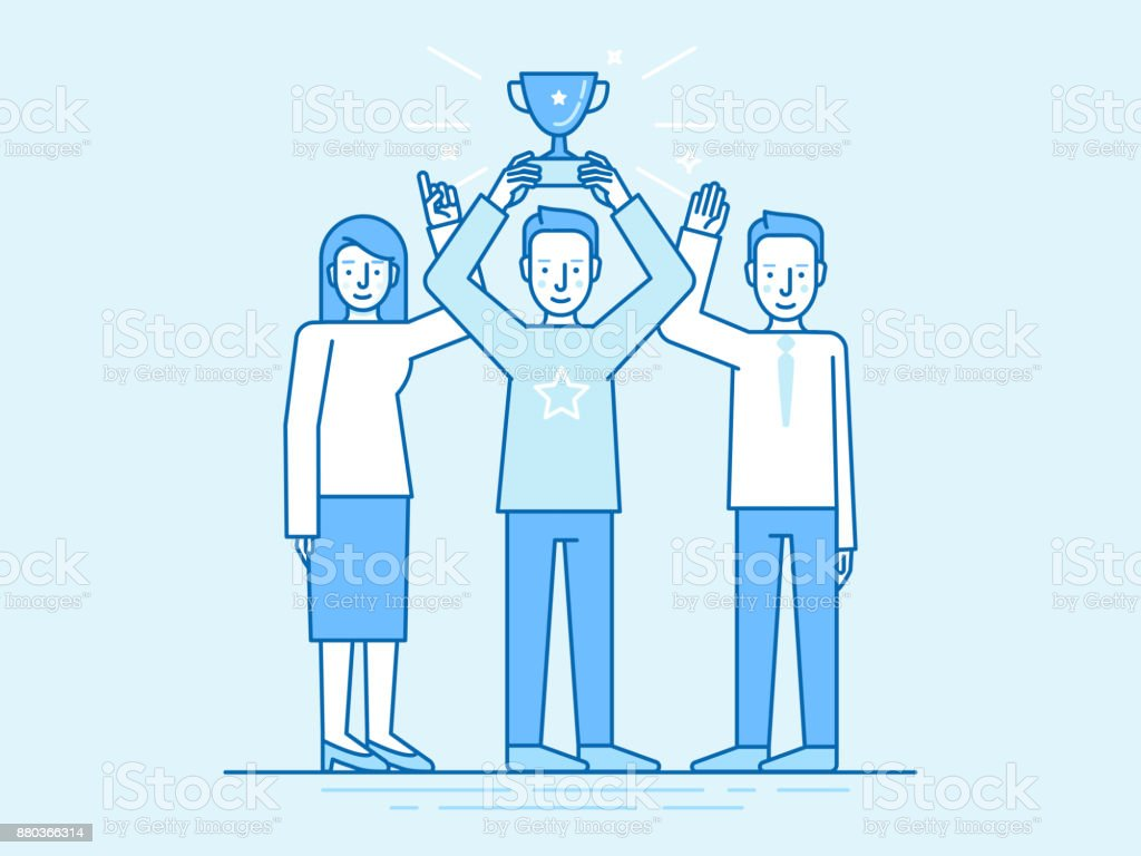 Vector illustration in flat linear style and blue color - successful team concept vector art illustration