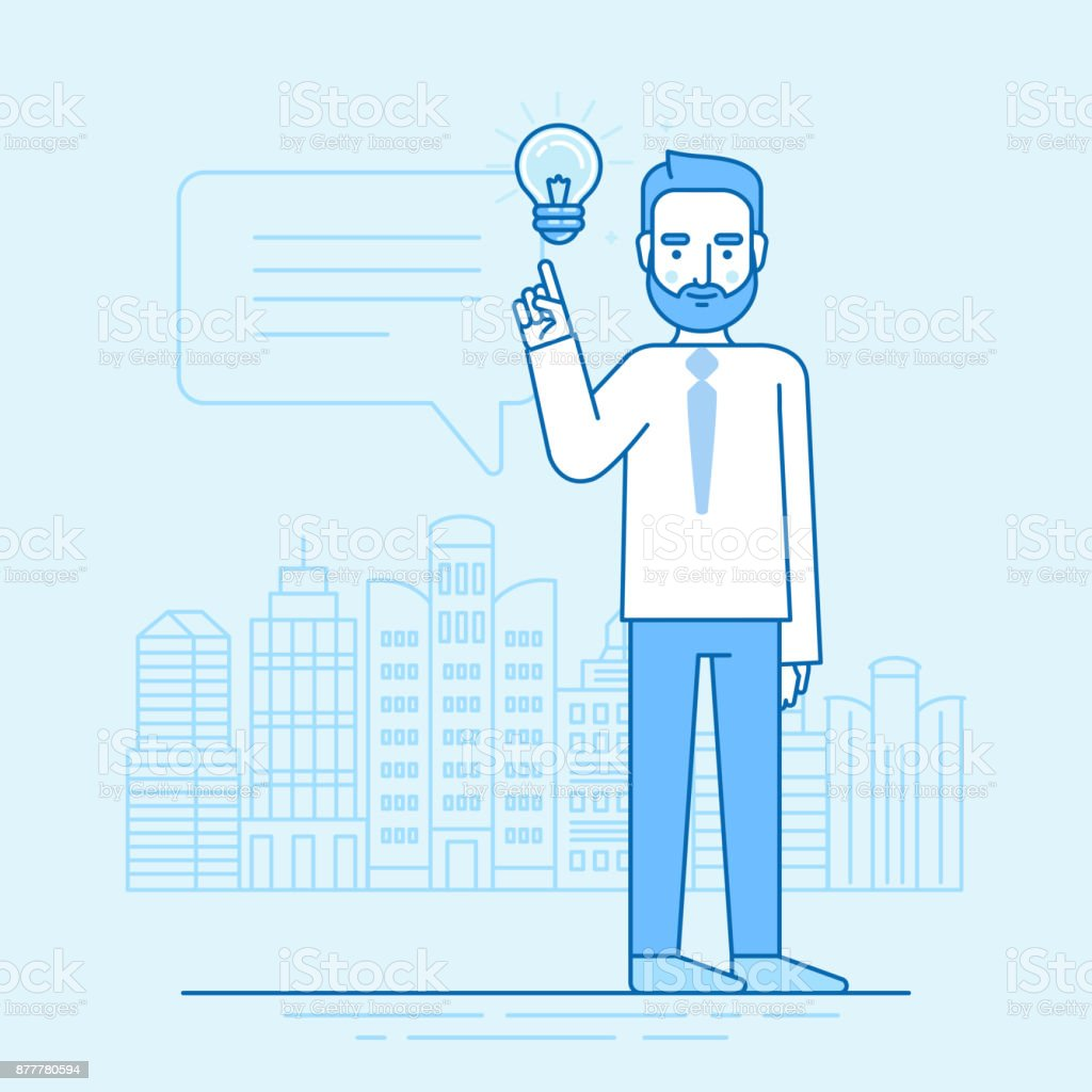 Vector illustration in flat linear style and blue colors - creative idea concept vector art illustration