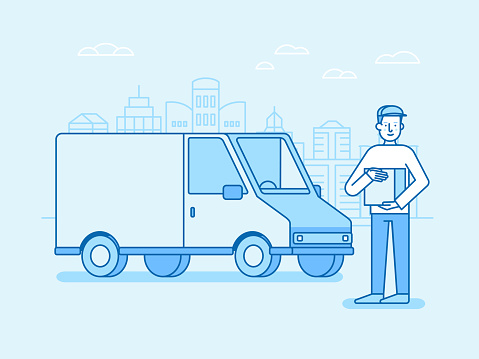 Vector illustration in flat linear style and blue colors - delivery concept
