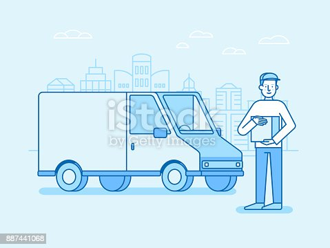 istock Vector illustration in flat linear style and blue colors - delivery concept 887441068