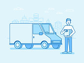 Vector illustration in flat linear style and blue colors - delivery concept - truck and friendly man with box from internet shop - fast shipping