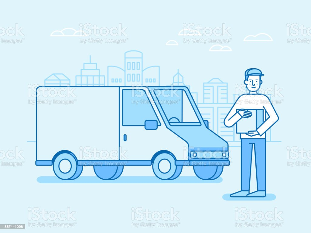 Vector illustration in flat linear style and blue colors - delivery concept vector art illustration