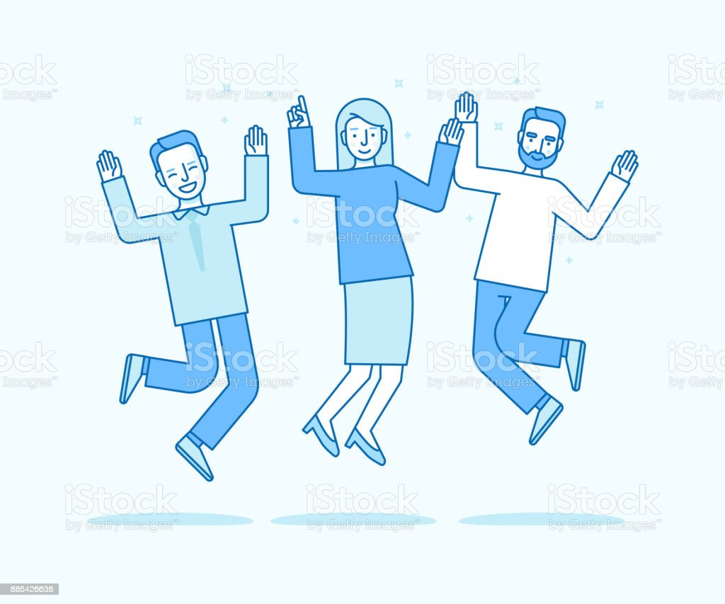 Vector illustration in flat linear style and blue colors - happy jumping team vector art illustration