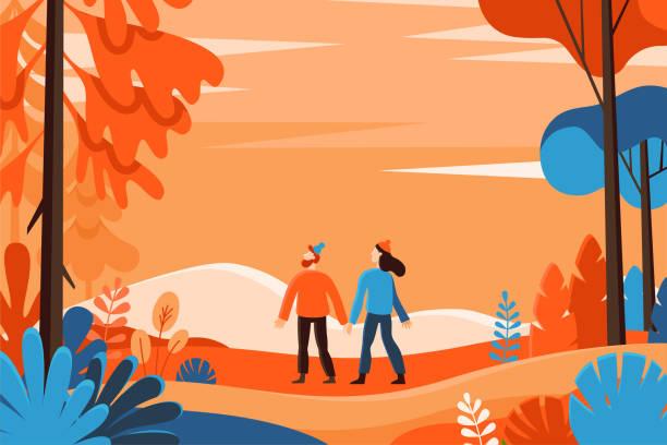 illustrazioni stock, clip art, cartoni animati e icone di tendenza di vector illustration in flat linear style - autumn background - sfondo vacanze e stagionali
