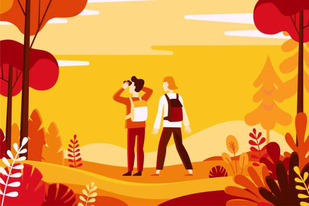 Vektor-Illustration in flachen linearen Stil - Herbst Hintergrund – Vektorgrafik