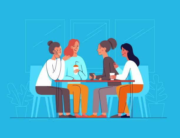 Vektor-Illustration in flachen linearen Stil - Freundinnen Kaffee trinken und plaudern – Vektorgrafik
