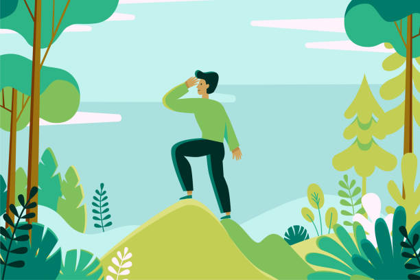 Vector illustration in flat linear style -  man exploring green forest landscape Vector illustration in flat linear style -  man exploring green forest landscape - outdoor activity concept exploration stock illustrations