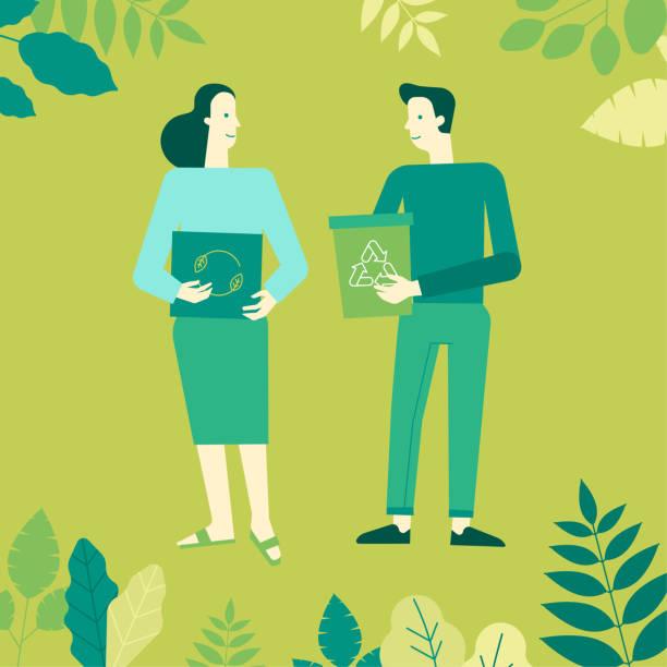 Vektor-Illustration in flachen linearen Stil - Konzept - Zeichen halten, Kisten und Kästen und sammeln Müll Recycling recyceln – Vektorgrafik