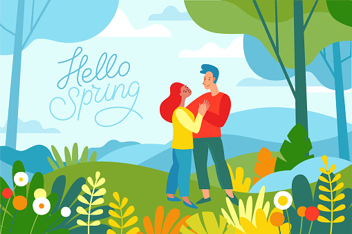 Vector illustration in flat linear style - spring illustration - landscape illustration with two characters exploring forest
