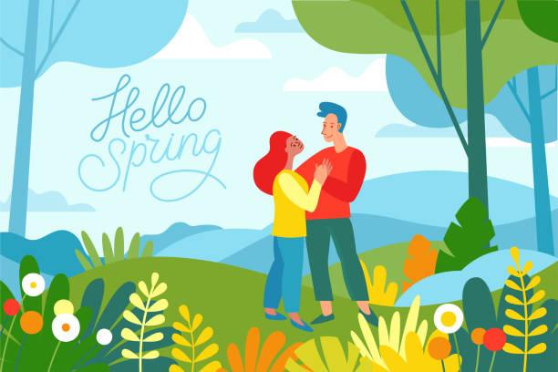bildbanksillustrationer, clip art samt tecknat material och ikoner med vektorillustration i platt linjär stil - våren illustration - landskap illustration med två tecken att utforska skogen - naturparksområde