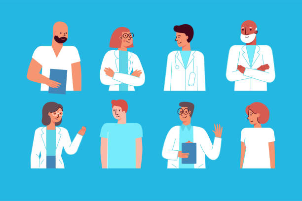 Vector illustration in flat linear style with characters  - medical team - group of doctors and nurses standing together vector art illustration
