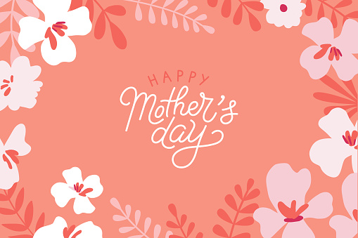 Vector illustration in flat simple style - happy mother's day greeting card