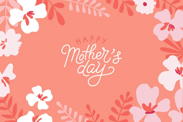 Vector illustration in flat simple style - happy mother's day greeting card vector art illustration