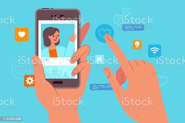 傳染媒介例證在平簡單樣式影響者行銷概念向量圖形及更多一個人圖片