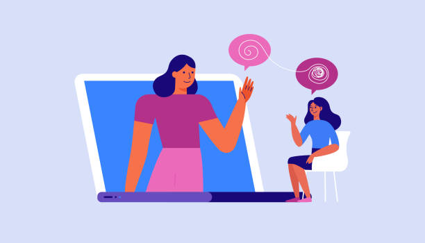 Vector illustration in flat  simple style - online psychological help and support service - psychologist and her patient having video call using modern technology app. Counseling therapy, depression and stress management vector art illustration