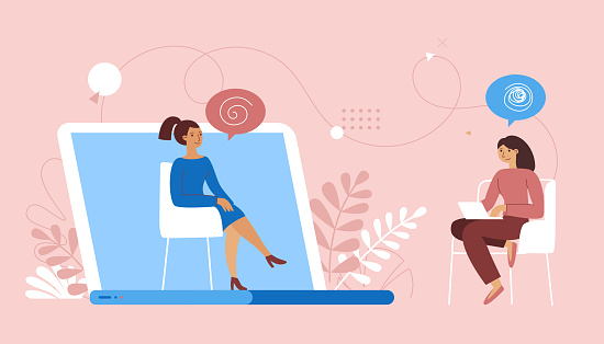 Vector illustration in flat  simple style - online psychological help and support service - psychologist and her patient having video call using modern technology app
