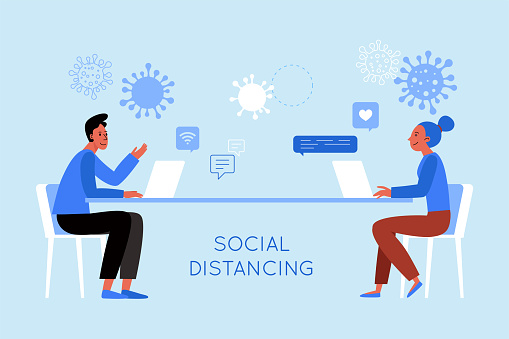 Vector illustration in flat simple style with character - novel coronavirus concept,  social distancing concept  - covid-19 -  illustration for infographics and banners