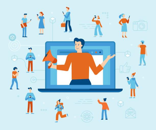 Vektor-Illustration in flachen einfachen Stil mit Zeichen - Influencer Marketing-Konzept – Vektorgrafik
