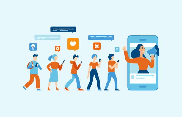 illustrations, cliparts, dessins animés et icônes de illustration vectorielle dans style plat simple avec personnages - influenceur concept de marketing - marketing