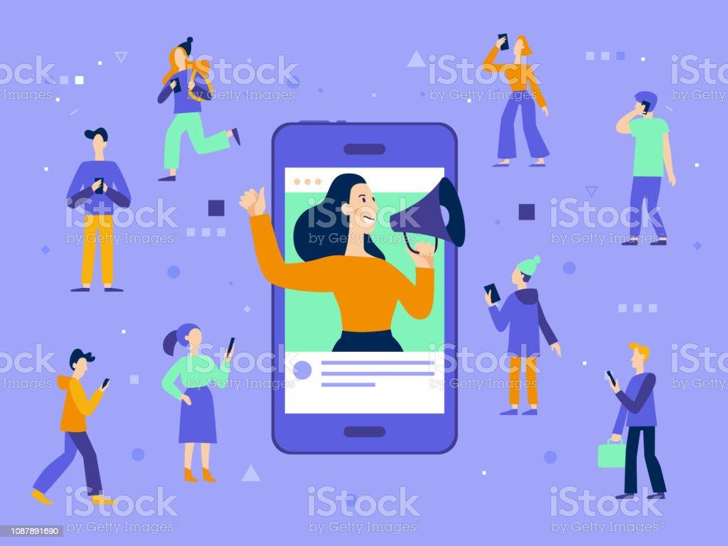 Vector illustration in flat simple style with characters - influencer marketing concept - Grafika wektorowa royalty-free (Biznes)