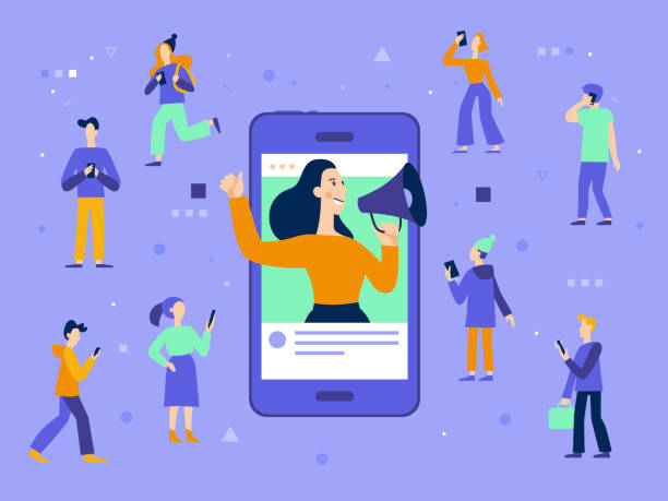 illustrazioni stock, clip art, cartoni animati e icone di tendenza di vector illustration in flat simple style with characters - influencer marketing concept - social media