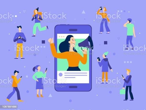 Vector Illustration In Flat Simple Style With Characters Influencer Marketing Concept - Stockowe grafiki wektorowe i więcej obrazów Biznes