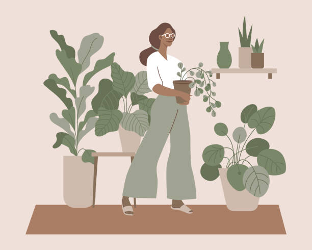Vector illustration in flat simple style with female character - crazy plant lady, modern poster or print. Stylish girl in scandinavian interior vector art illustration