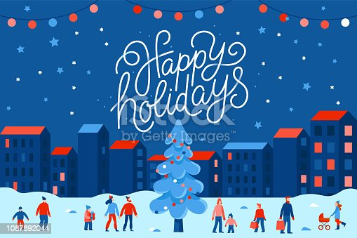 istock Vector illustration in flat simple style with hand lettering happy holidays -  Christmas greeting card 1087892044