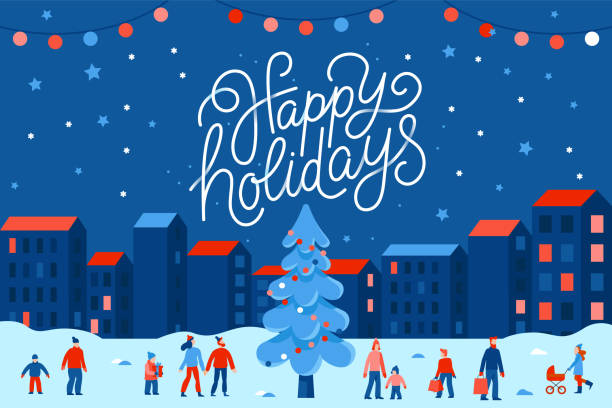 Vector illustration in flat simple style with hand lettering happy holidays -  Christmas greeting card Vector illustration in flat simple style with hand lettering happy holidays -  Christmas greeting card, banner, poster with people at festival seasonal market and fair at town square christmas family stock illustrations