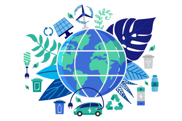 illustrazioni stock, clip art, cartoni animati e icone di tendenza di vector illustration in flat style. earth globe with electric car. save the planet, save energy, the concept of the earth day. can use for website, banners and brochure. - erba medica