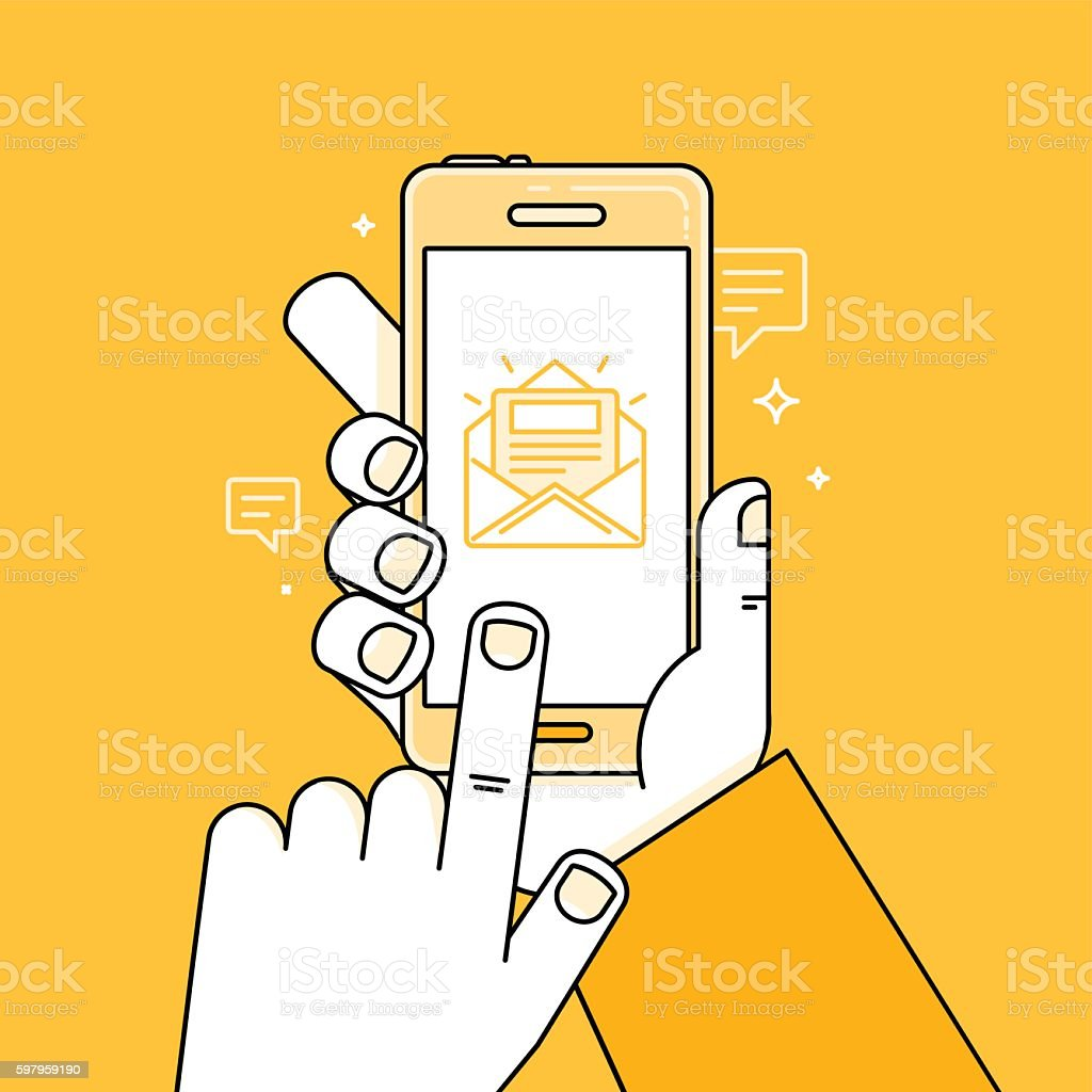 Vector illustration in flat style - hand with mobile phone vector art illustration