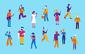 Vector illustration in flat style -  men and women walking and holding mobile phones - smartphone addiction concept