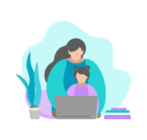 vector illustration in flat style. sitting mother and child with laptop. online education with class in quarantine time, making homework with parent's help. home schooling. blue and violet colours - single mother stock illustrations
