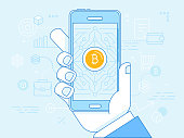 Vector illustration in line flat style and blue colors - bitcoin and crypto currency concept - hand holding mobile phone and mining digital money app on the screen -  virtual payment system infographics