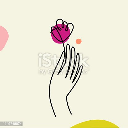 Vector illustration in minimal linear style - hand with flower - abstract modern t-shirt print  - beauty and fashion concept