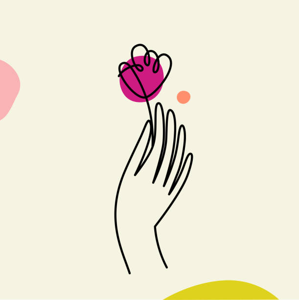 vector illustration in minimal linear style - hand with flower - massage stock illustrations