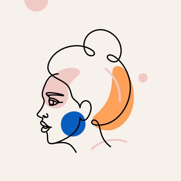 Vector illustration in minimal linear style - minimalistic female portrait vector art illustration